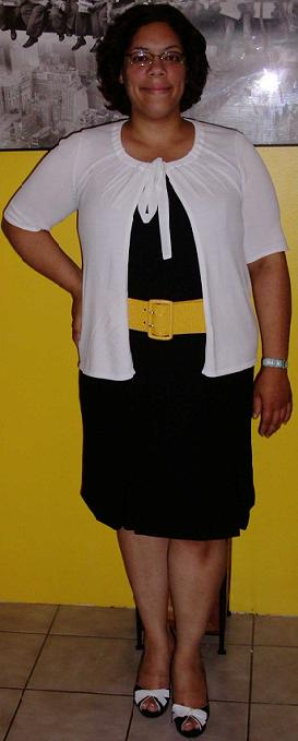 Black dress yellow belt