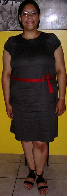 Grey dress Red belt