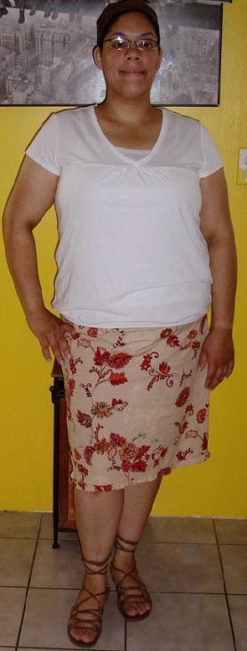 Orange skirt and white top (6)