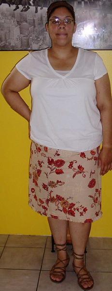 Orange skirt and white top