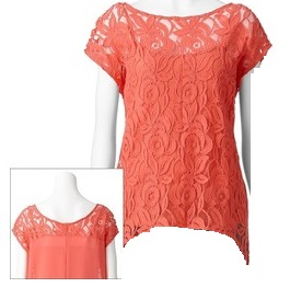 apt 9 lace front peach top