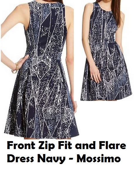 Front Zip Fit and Flare Dress Navy - Mossimo
